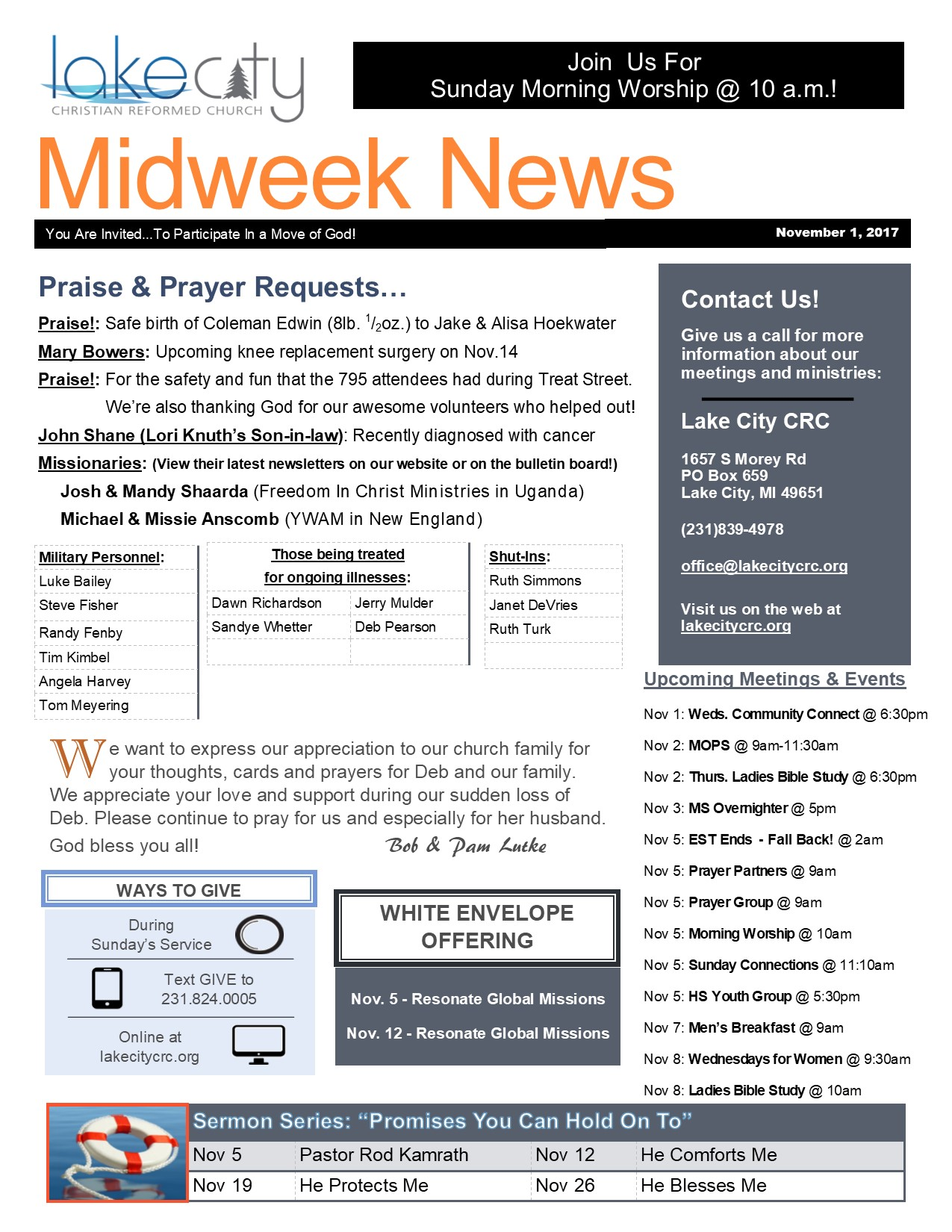 November 1, 2017 Midweek News