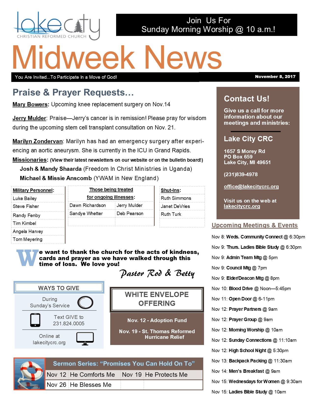 November 8, 2017 Midweek News