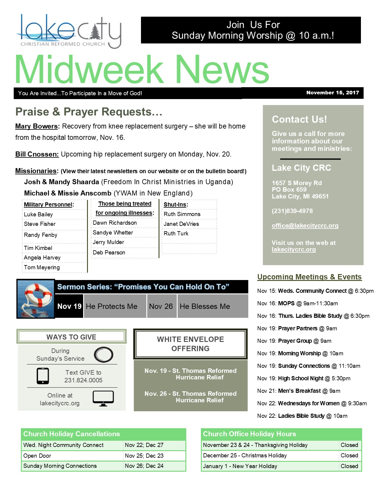 November 15, 2017 Midweek News
