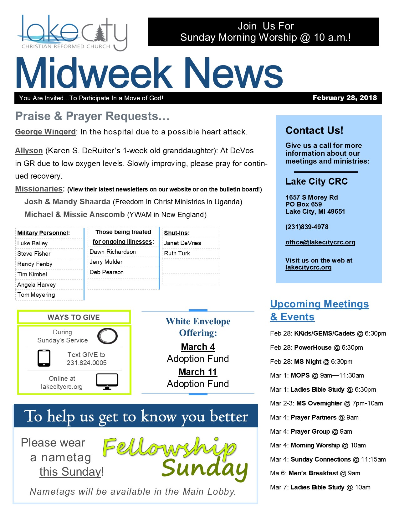 February 28, 2018 Midweek News