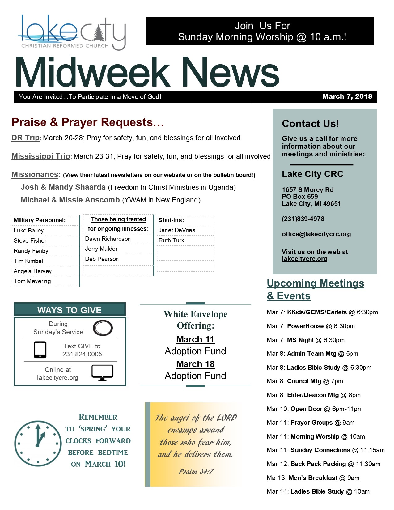 March 7, 2018 Midweek News