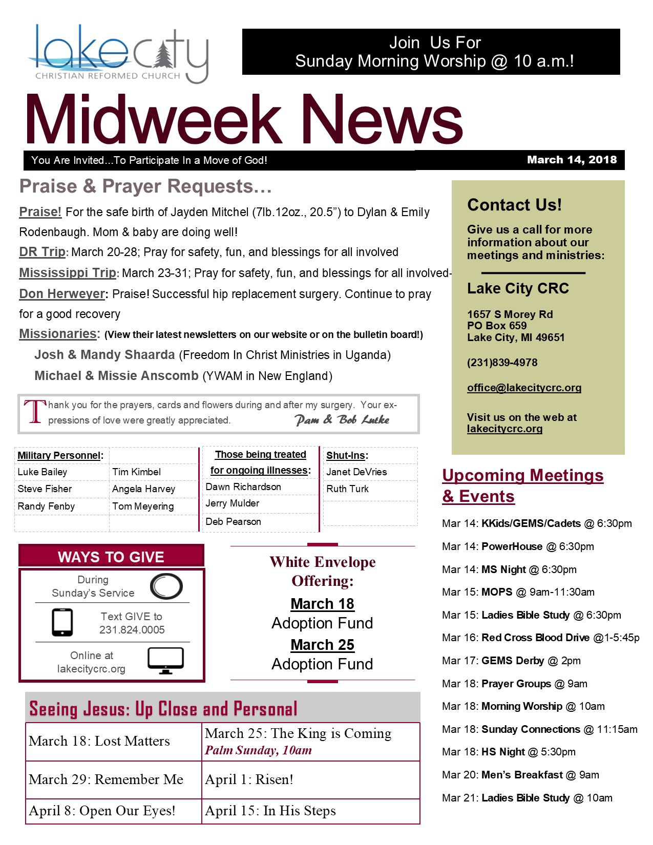 March 14, 2018 Midweek News