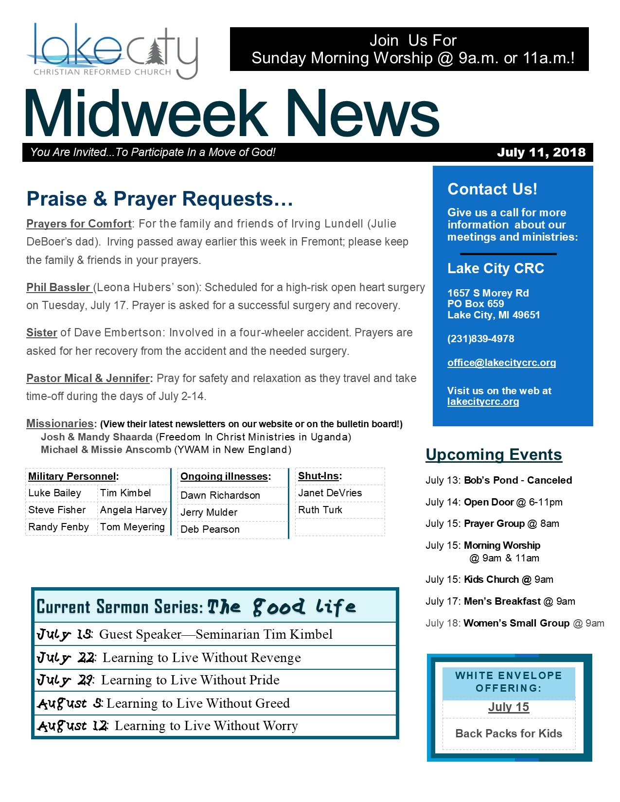 July 11, 2018 Midweek News