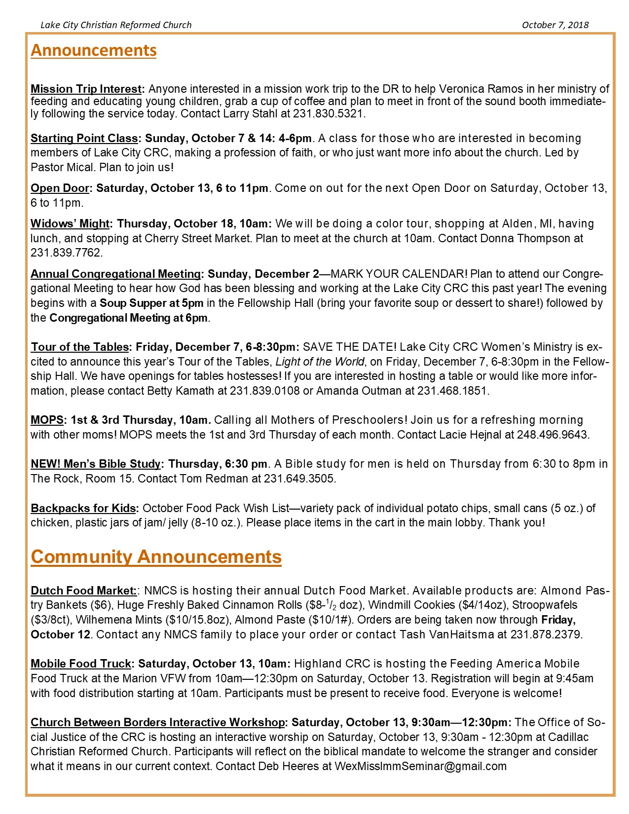 October 7, 2018 Bulletin – Lake City