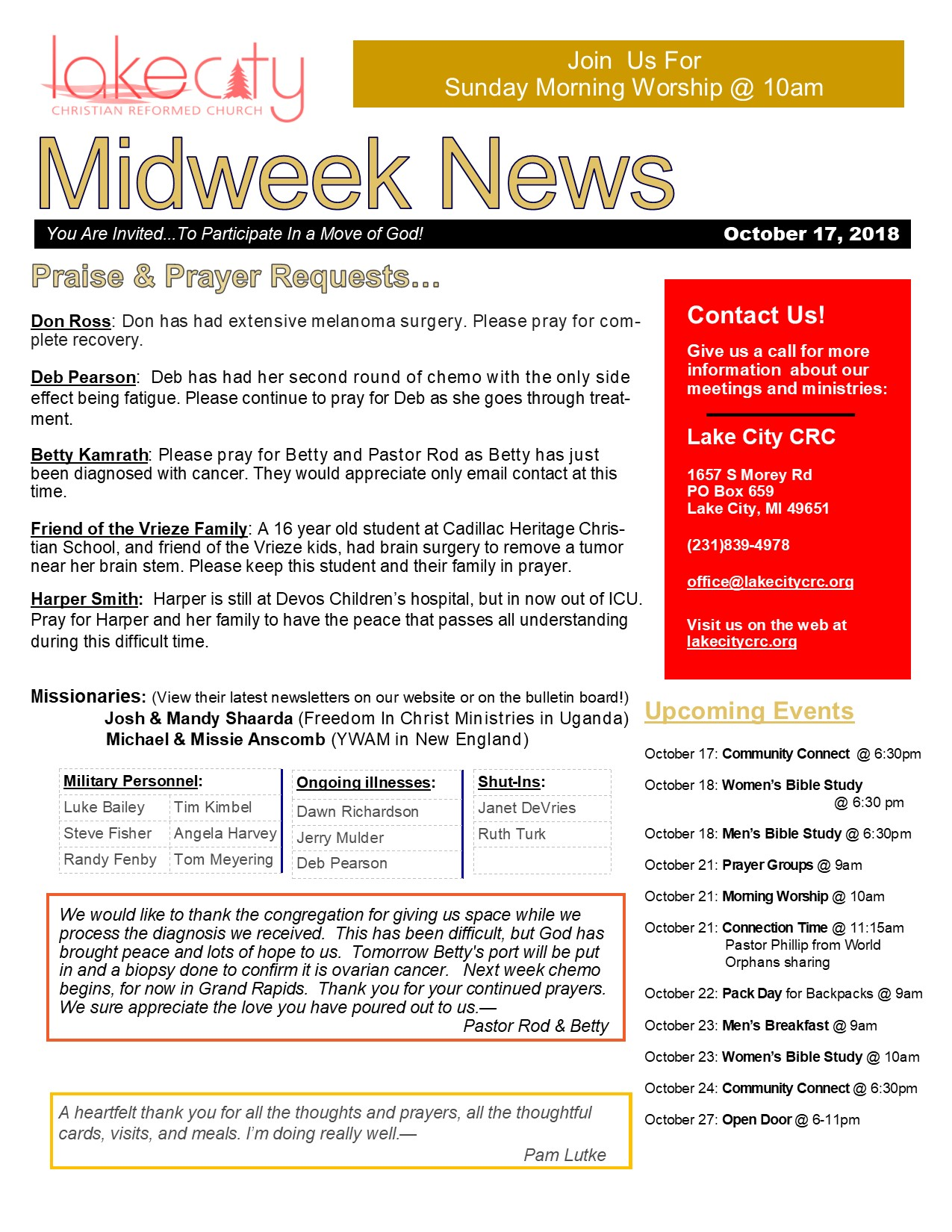October 17, 2018 MidWeek News