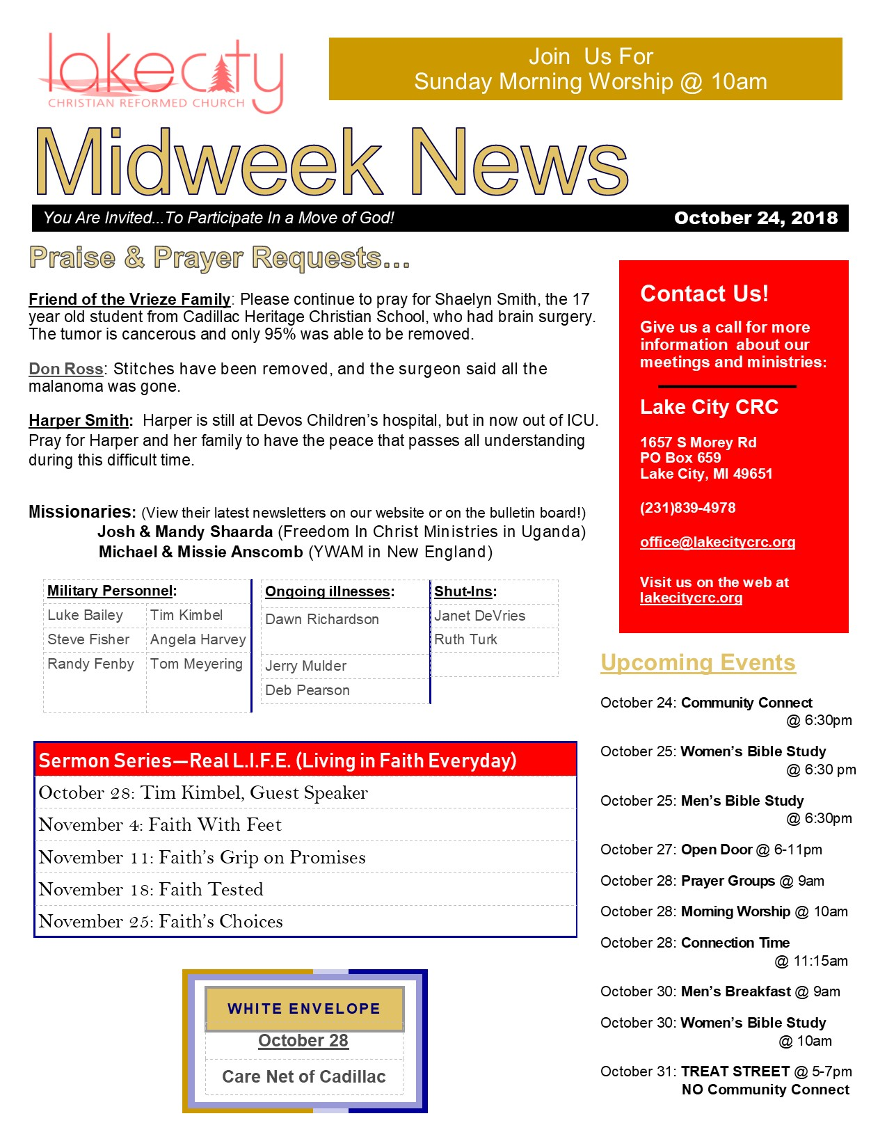 October 24, 2018 Mid-Weeks News