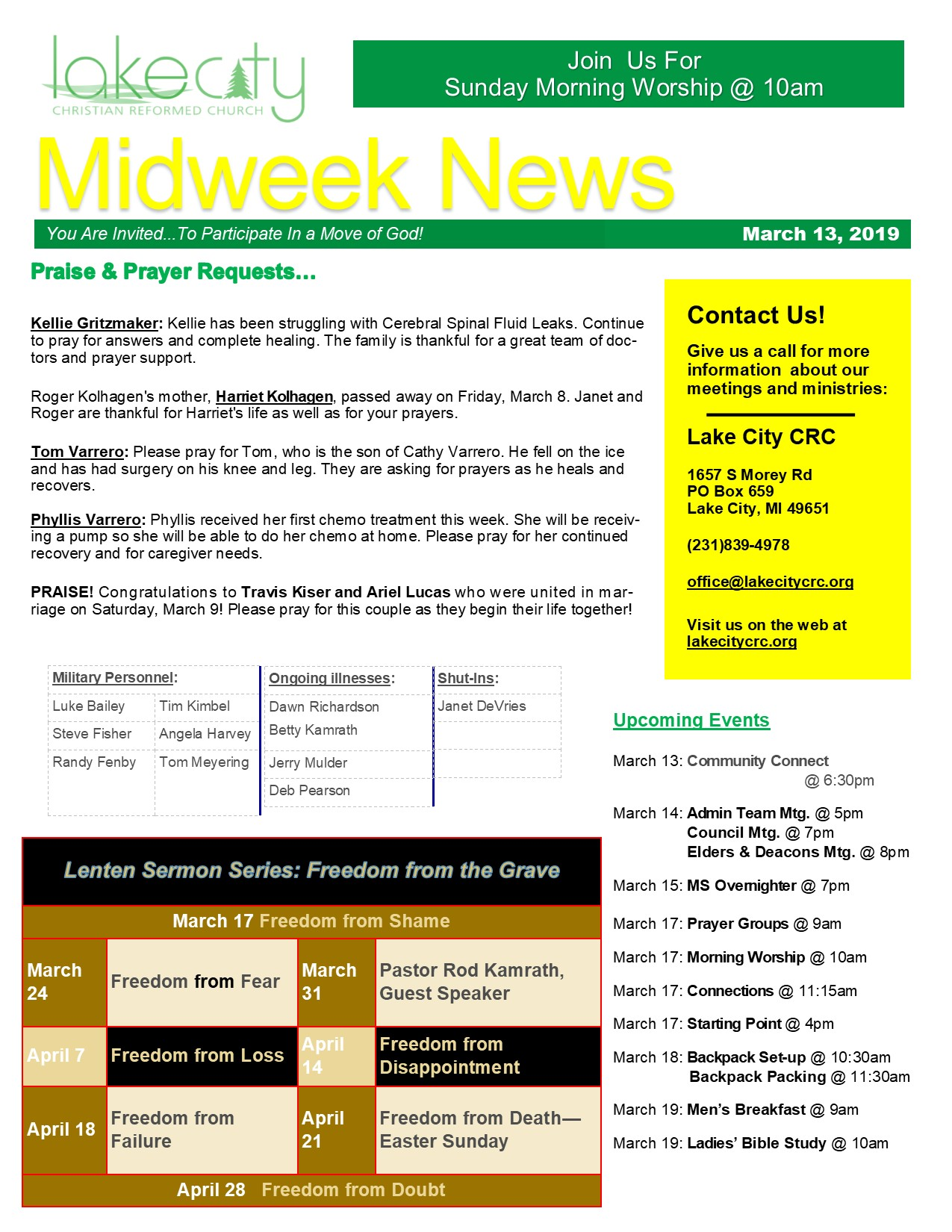 March 13, 2019 Mid-Week News