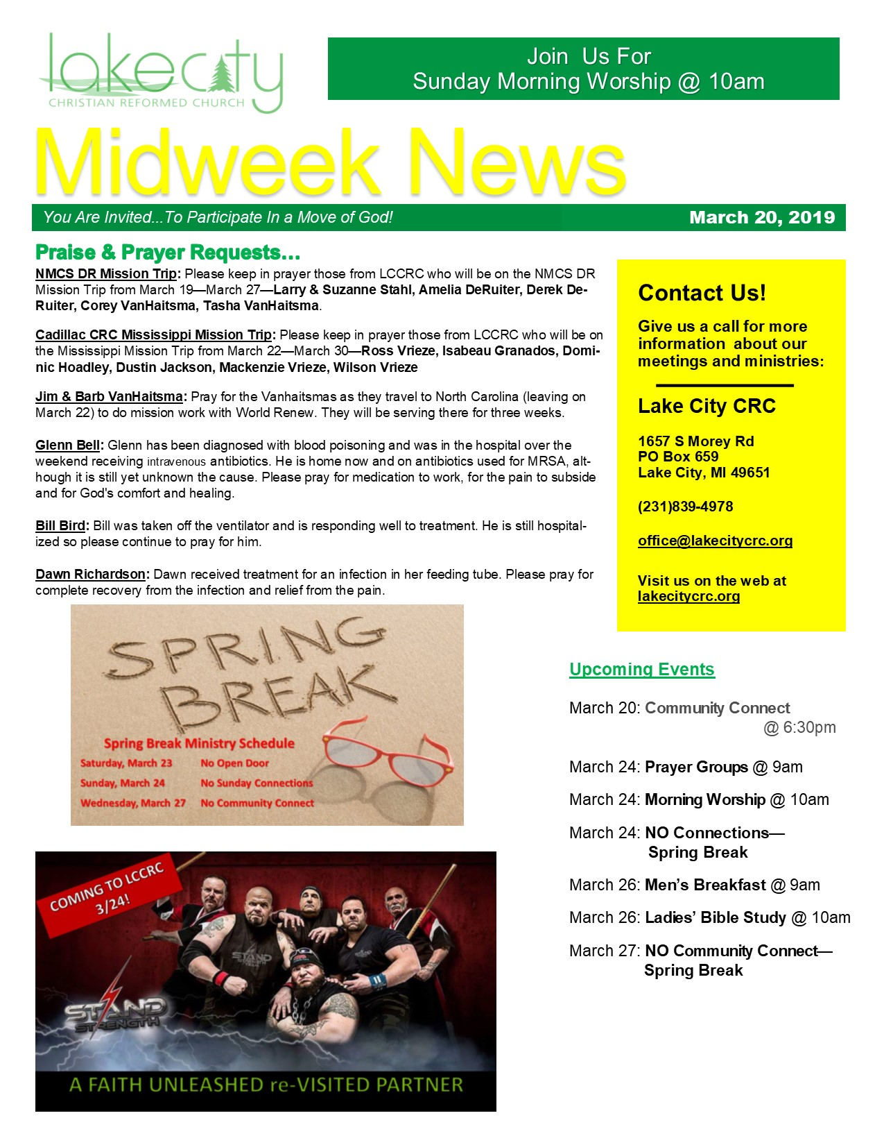 March 20, 2019 Mid-Week News