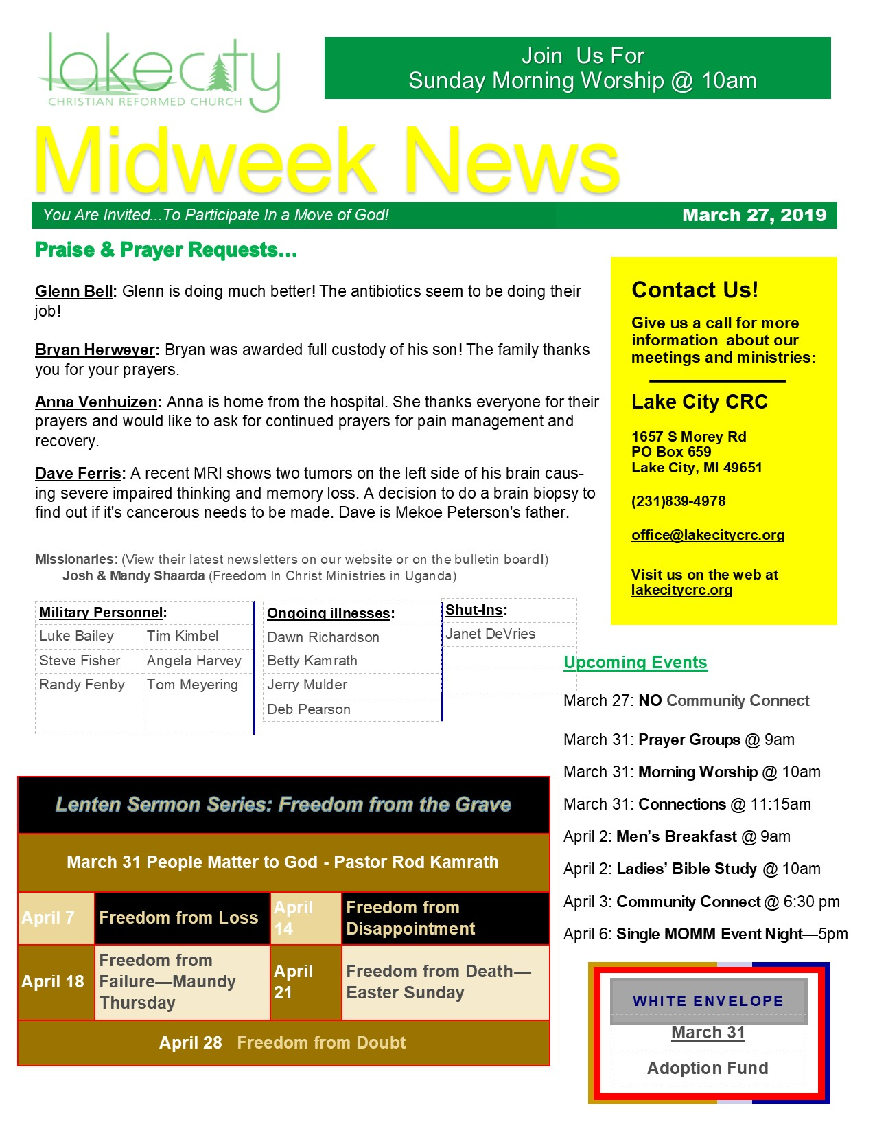 March 27, 2019 Mid-Week News
