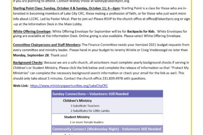 September 6, 2020 Bulletin Insert