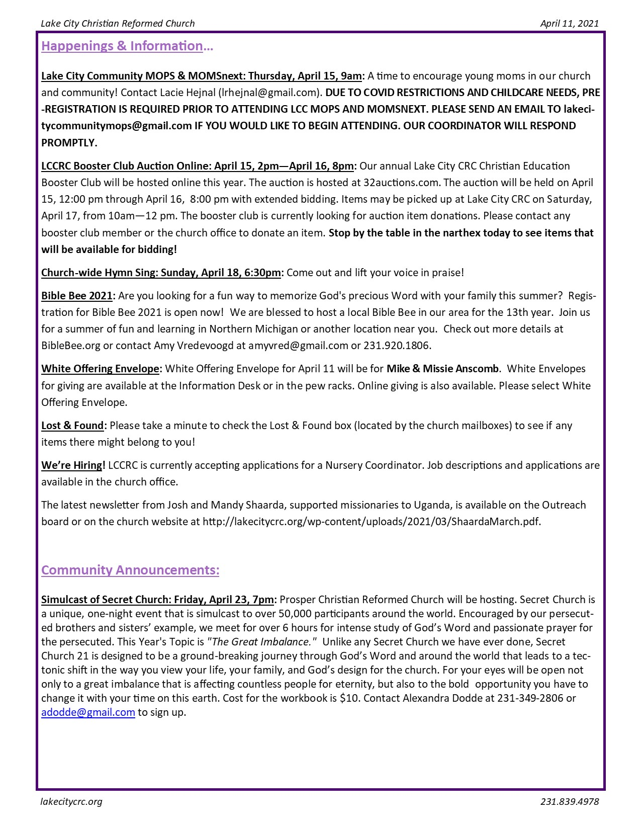 April 11, 2021 Bulletin Insert