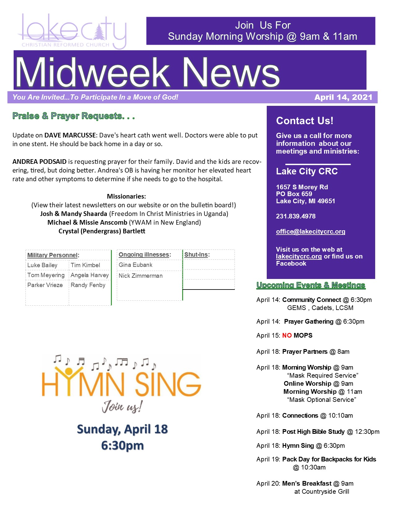April 14, 2021 Mid-Week News