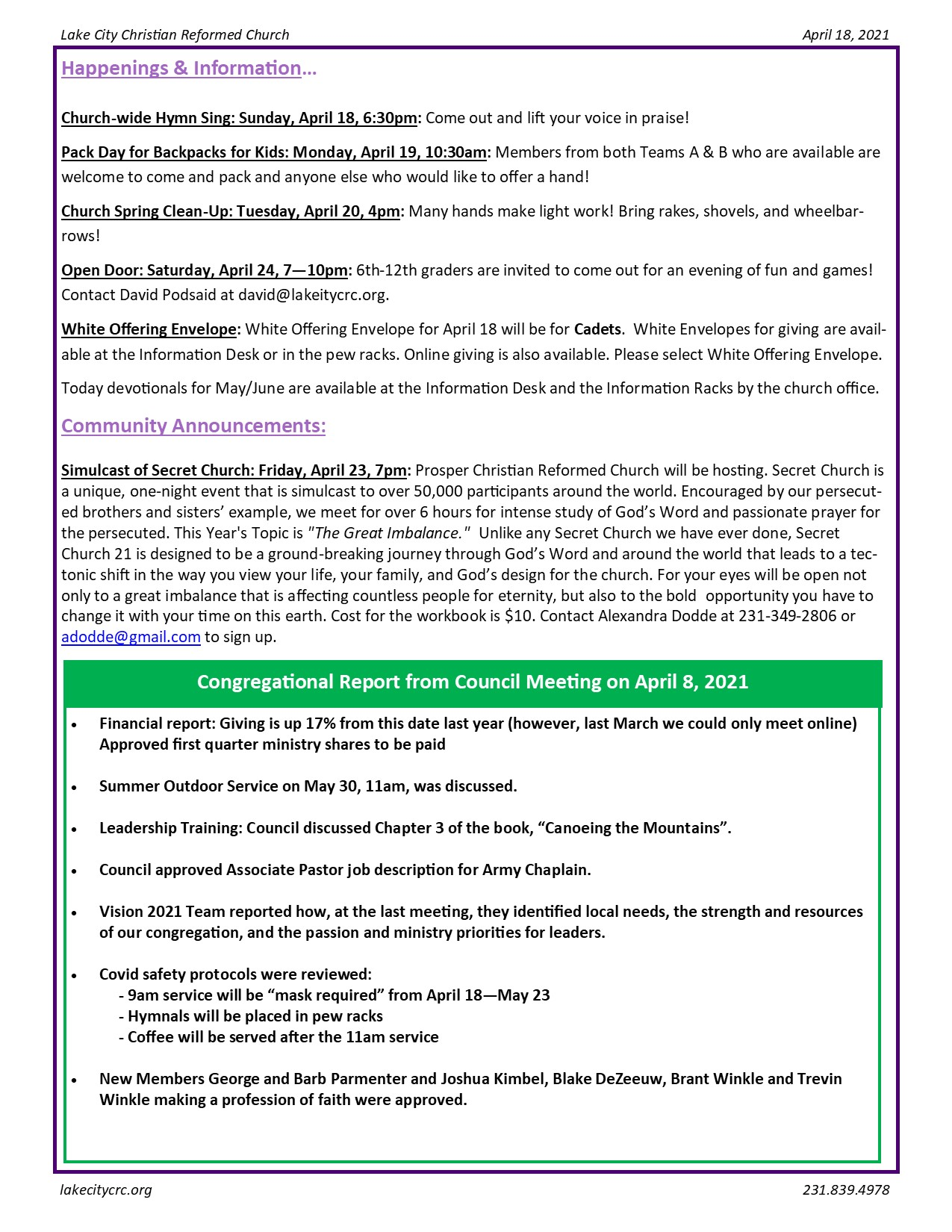 April 18, 2021 Bulletin Insert
