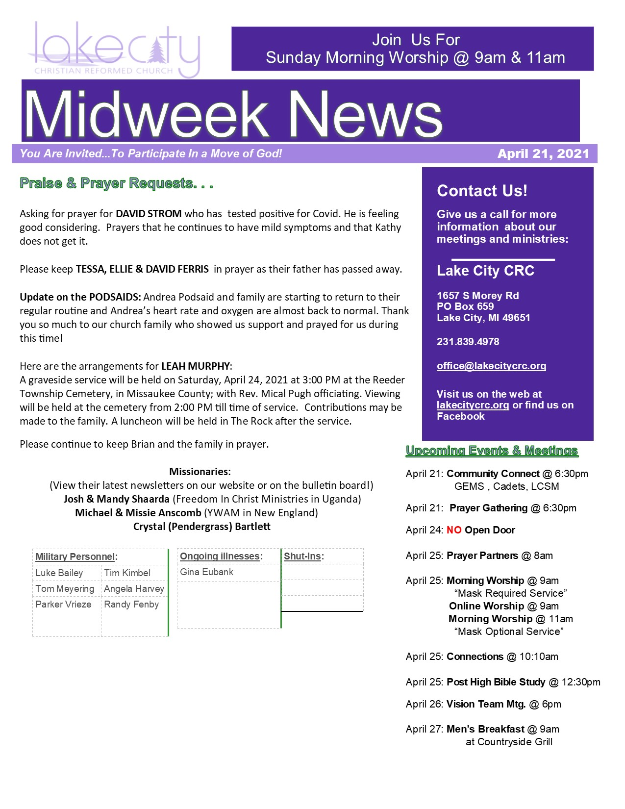 April 21, 2021 Mid-Week News